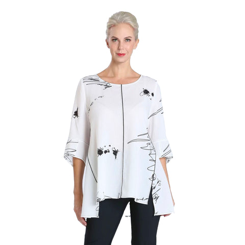 IC Collection Abstract Print High-Low Tunic Top in White/Black - 2803T-WT