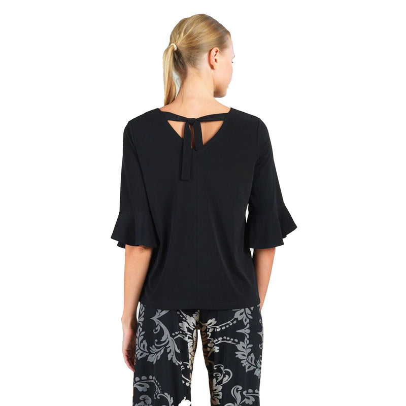 Clara Sunwoo Solid Tulip Cuff Top in Black -T10-BLK