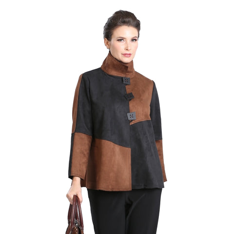IC Collection Colorblock Jacket in Brown/Black - 3315J