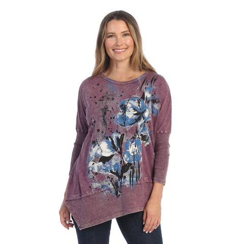"Jess & Jane ""Dalia"" Abstract Print Mineral Washed Cotton Tunic Top in Plum -  M41-1555"