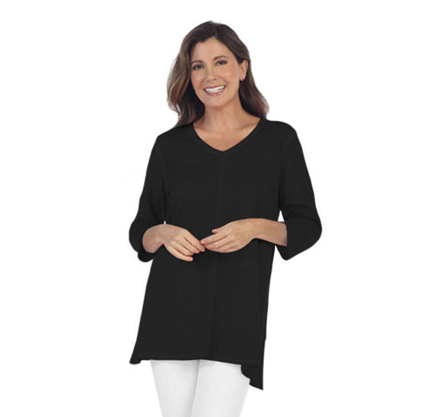 Focus Fashion Lightweight Knit Tunic Top in Black - SC-115-BLK