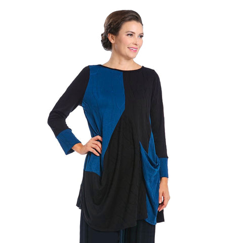 IC Collection Textured Colorblock Tunic in Blue/Black - 3849T