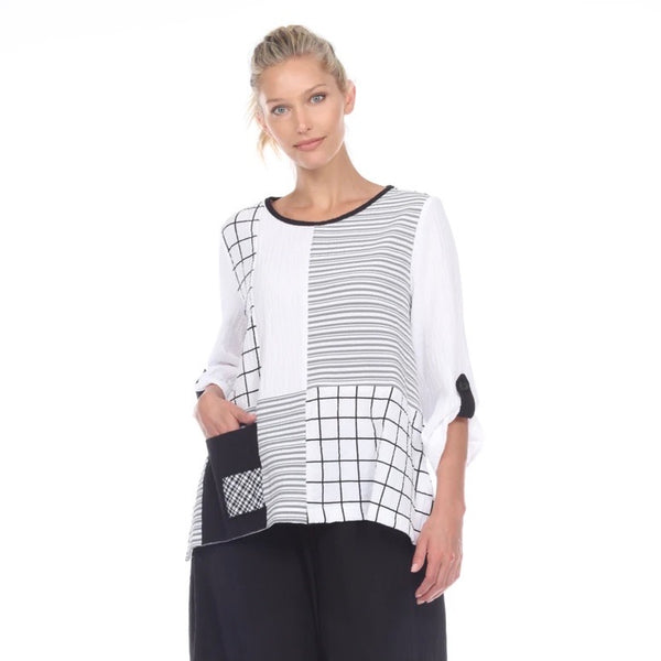 Moonlight Mixed-Print Pocket Top in Black/White - 2219-WT