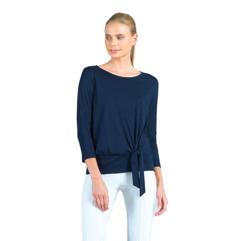 Clara Sunwoo Side Tie Modal Cotton Top in Navy - T134MC-NV