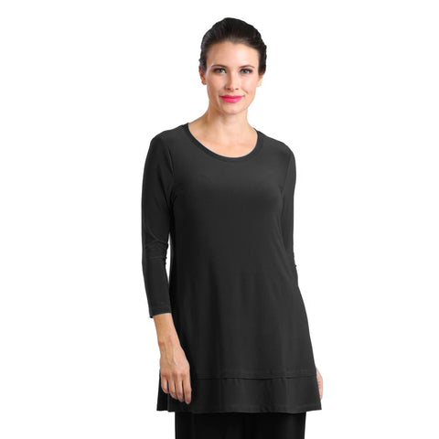 IC Collection Stretch Knit Basic Tunic in Black - 1484-BLK