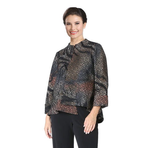 IC Collection Textured Asymmetric Jacket in Multicolor - 3830J