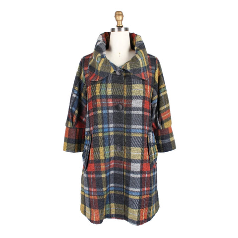 Damee Plaid Sweater Knit Swing Jacket in Yellow/Multi - 4657