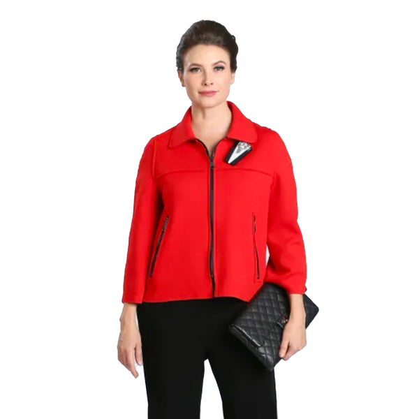 IC Collection Techno-Knit Zip Jacket in Red - 2121J-RD - Sizes L thru XXL