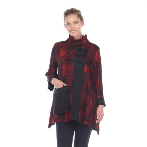 Moonlight Sweater Knit Tunic in Red/Multi - 2927-RED