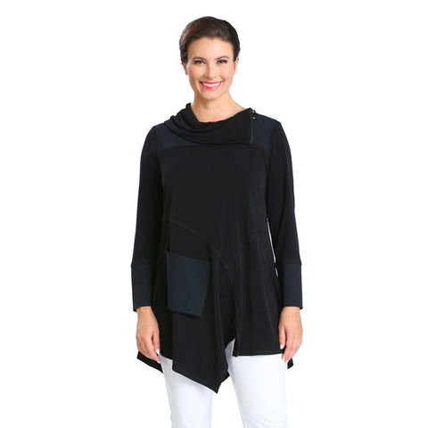 IC Collection Asymmetric Cowl Neck Tunic in Black - 3879T-BLK