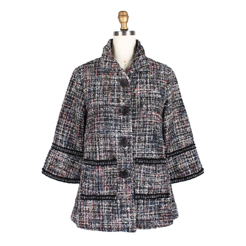 Damee Tweed Lined Jacket w/Metallic Trim in Grey/Multi - 4656-GRY