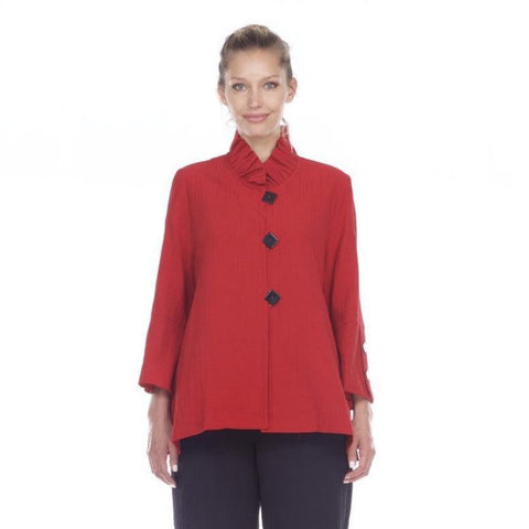Moonlight by Y&S Button Front Jacket w/Ruffle Collar in Red -  2449-RD