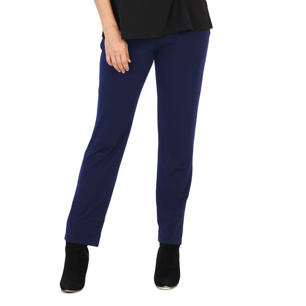 Jess & Jane Soft Knit Straight Leg Pull-On Pant in Navy - Y2-NVY