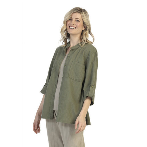 Focus Fashion Button Front Waffle Shirt in Olive - CS117-OLV