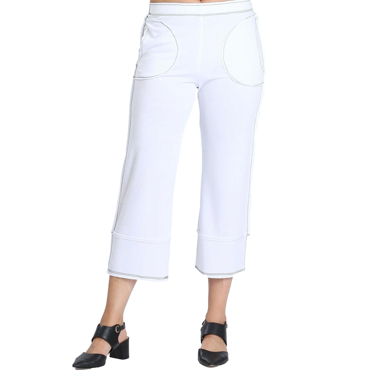 IC Collection Soft Knit Crop Pant in White - 3777P