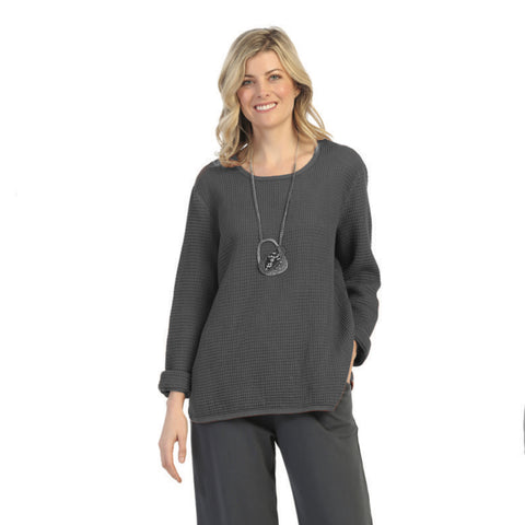 Focus Fashion Waffle Top in Midnight - C691-MID - Sizes M & XL Only
