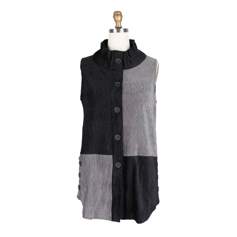 Damee Colorblock Luxe Crinkle Vest in Grey/Black - 3176-GRY