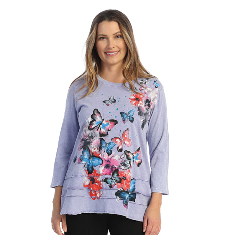 "Jess & Jane ""Fantasia"" Floral Print Layered Tunic Top - M66-1559"