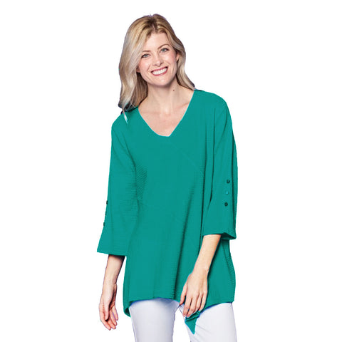 Focus Fashion V-Neck Bell Sleeve Tunic in Atlantic Teal - LW-102-ATL