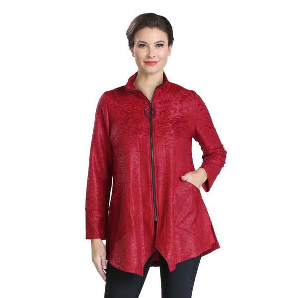 IC Collection Textured Zip Front Jacket in Burgundy - 2394J-BUR - Size XXL Only