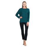 Clara Sunwoo Soft Open Ribbed Sweater Top in Hunter Green - T56W1