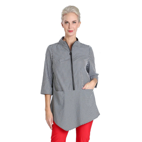 IC Collection  Zip Front Gingham Tunic Top - 2859T