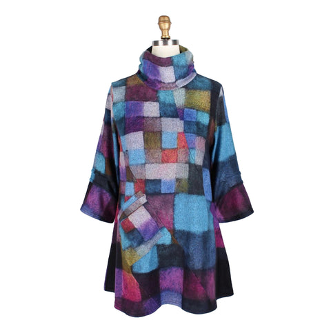Damee Checkered Sweater Knit Tunic in Blue/Multi - 9157-BLU