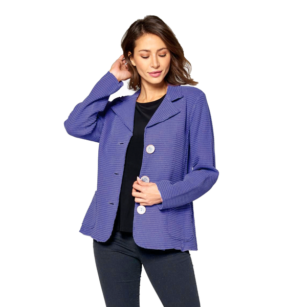 Focus Fashions Waffle Jacket in Violet - SW203-VIO