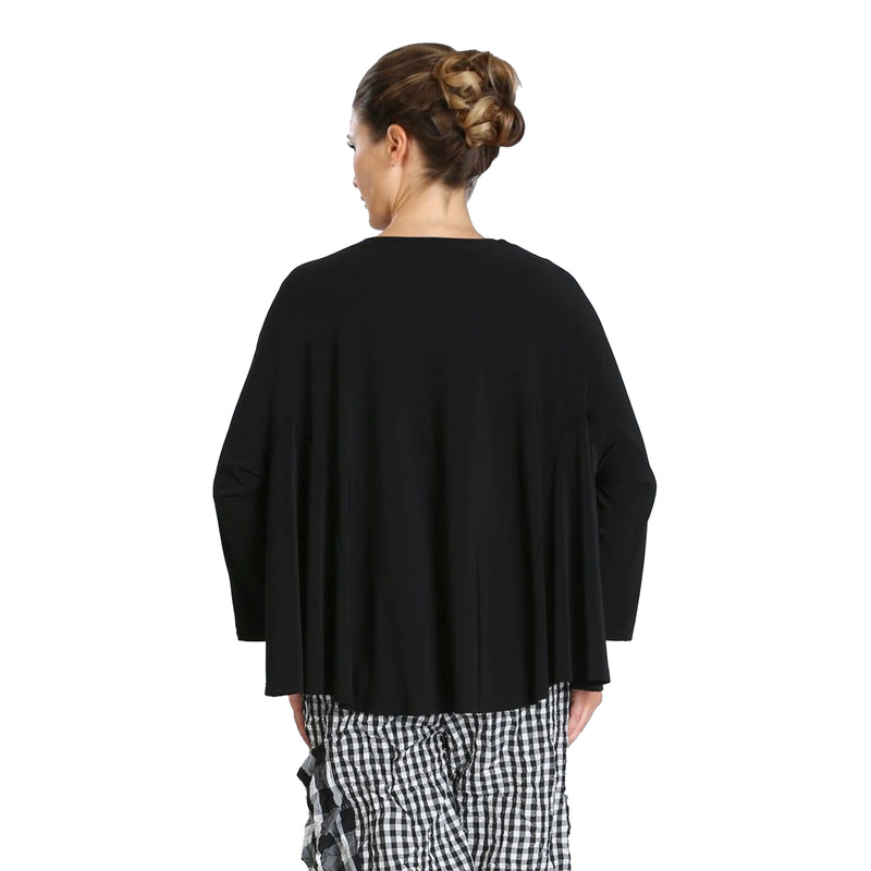 IC Collection Soft Knit Dolman Sleeve Top in Black - 6769T-BLK