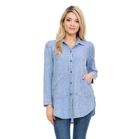 Focus Fashion Waffle Shirt Jacket in Sky Denim Blue LW-110-BLU