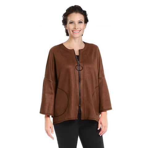 IC Collection High-Low Faux Suede Jacket in Walnut - 3131J-WNT