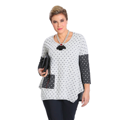 IC Collection Two-Tone Polka Dot Tunic Top in Grey/White - 3495T - Sizes M & XL