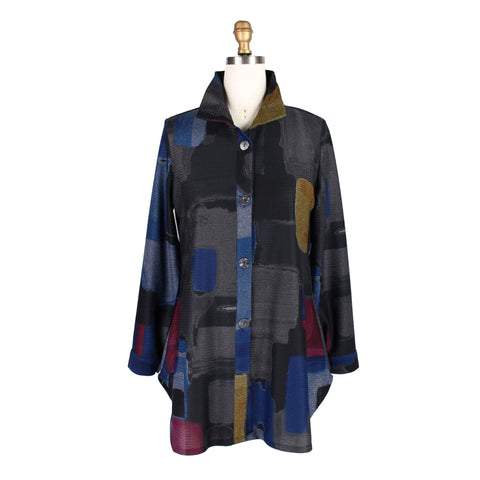 Damee Abstract Button-Front Long Shirt in Multi - 7058