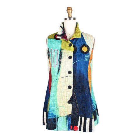 Damee Abstract Art Quilted Vest in Green/Multi - 3177-GRN
