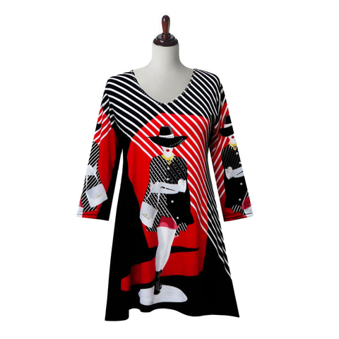 "Valentina Signa ""Striped Chic"" Print V-Neck Tunic in Black/Red - 19797"