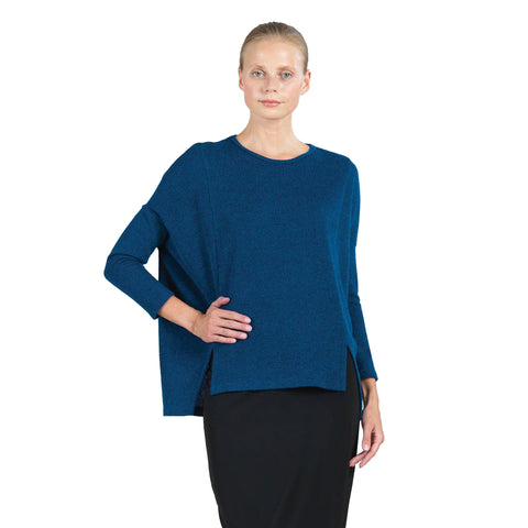 Envelope Hem Oversized Sweater Tunic Top in French Blue - T199W5
