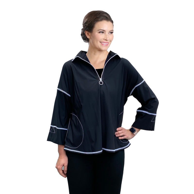 IC Collection Casual Parachute Top with Pockets - 3662T-BLK