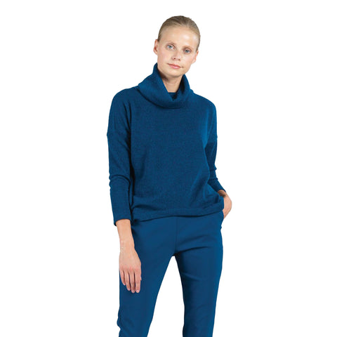 Clara Sunwoo Cowl Neck Sweater Top in French Blue - T92W5