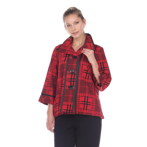 Moonlight Check Print Button Front Jacket in Red/Black - 2873-RED