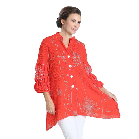 IC Collection Abstract Button Front Renaissance Blouse in Coral Red - 2869B-CR