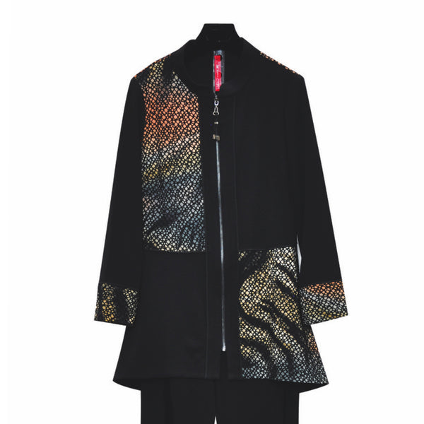 IC Collection Mixed Media Zip-Front Jacket in Multi/Black - 3680J - Sizes S & M Only