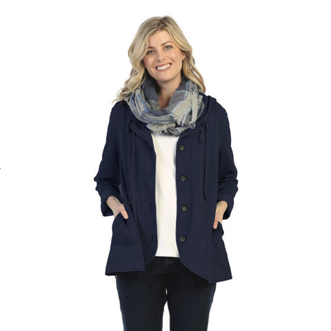 Focus Fashions Hooded Jacket in Dark Denim Blue - D-101-DBL