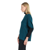 Clara Sunwoo Ribbed Cape Sleeve Sweater Top in Hunter Green - T155W
