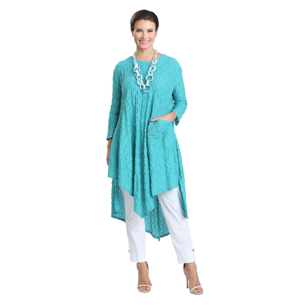 IC Collection Pucker Knit Long Handkerchief Tunic in Jade - 1622T