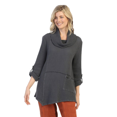 Focus Fashion Waffle Tunic in Charcoal - FW-124-MIDCH - Sizes S & M Only