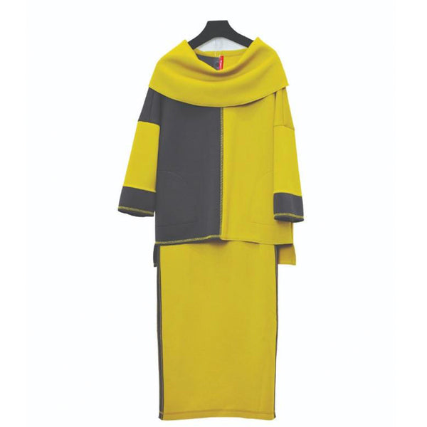 IC Collection Colorblock Techno-Knit Straight Skirt in Mustard/Char- 3674S-MST - Sizes S & XXL
