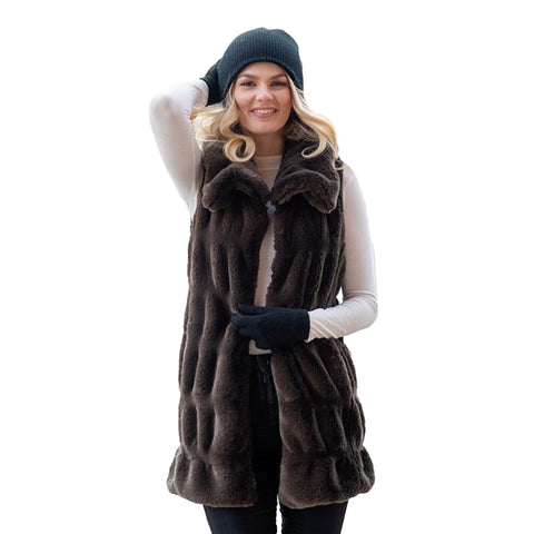 Fabulous Furs Cozy Snuggle Collar Faux-Fur Vest in Taupe - 14625-TPE