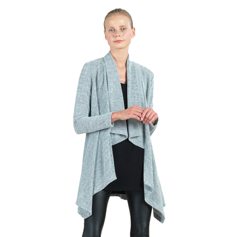 Clara Sunwoo Herringbone Sweater Knit Cardigan in Grey - CA44W2-OAT - Size S Only