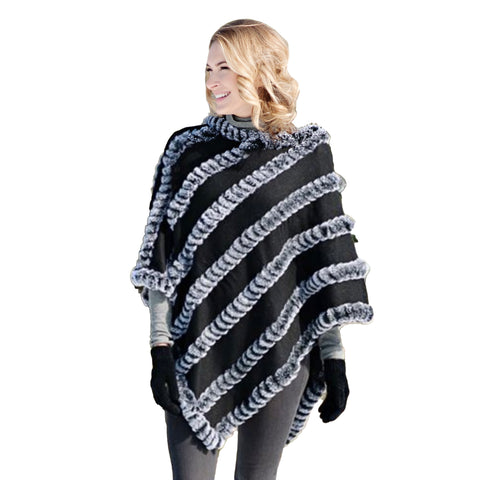 Fabulous Fur Poncho with Faux Fur Trim - 16139-BLK