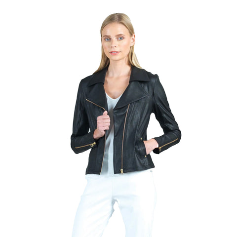 Clara Sunwoo Faux-Leather Zip-Cuff Jacket in Black - JKZ33-BLK